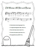"""Old Woman All Skin and Bones"" Printable Song Sheet - Perfect for Halloween!"