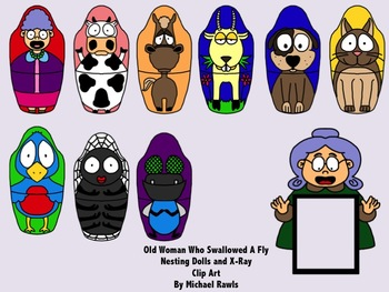 Old Woman Who Swallowed a Fly Nesting Dolls Clip Art