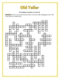 Old Yeller: 50-word Prereading Crossword—Great Prep for the Book!