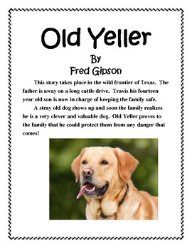 Old Yeller Book Report and Lapbook
