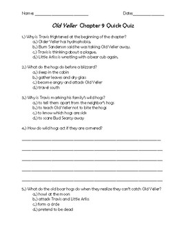 Old Yeller Chapter 9 Quick Quiz