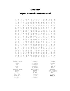 Old Yeller Chapters 1-3 Vocabulary Word Search- Gipson