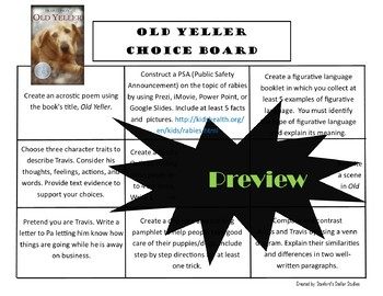 Old Yeller Choice Board Novel Study Activities Menu Book Project Tic Tac Toe