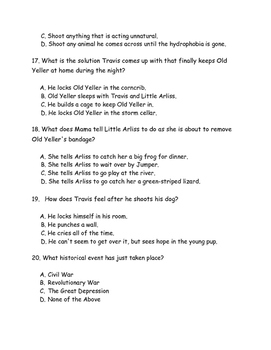 Old Yeller Completed Book Test
