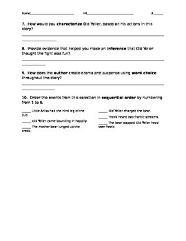 Old Yeller Comprehension Questions Houghton Mifflin Journeys