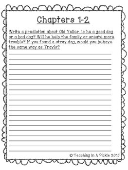 ***Old Yeller Comprehension and Vocabulary Response Journal!***