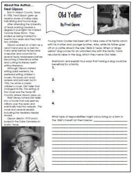 Old Yeller Novel Study & Enrichment Project Menu