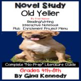 Old Yeller Novel Study and Project Menu