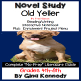 Old Yeller Novel Study and Project Menu