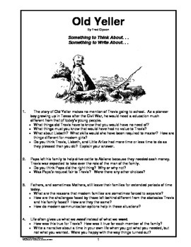 old yeller thinking and writing prompts by margaret whisnant tpt old yeller thinking and writing prompts