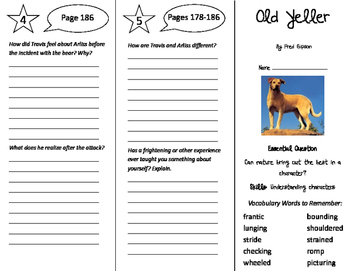 Old Yeller Trifold - Journeys 5th Grade Unit 2 Week 2 (2011)
