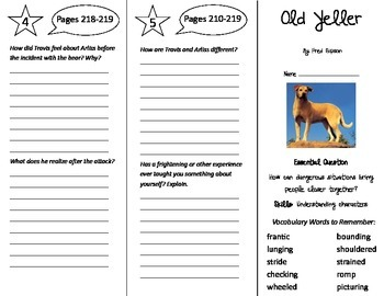 Old Yeller Trifold - Journeys 5th Grade Unit 2 Week 2 (2014, 2017 Common Core)