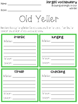 Old Yeller Vocabulary Grids