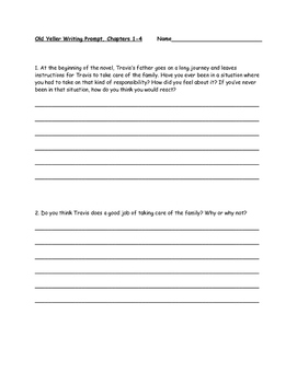 Old Yeller Writing Prompt Chapters 1-4