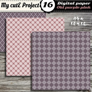 "Old pink & Purple DIGITAL PAPER - Scrapbooking- A4 & 12x12"" - Stripes..."