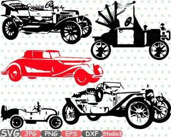 Old vintage cars clipart studio 3 silhouette svg Antique Car Retro sport 671s