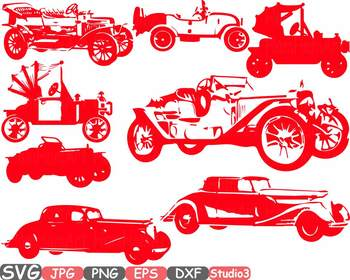 Old vintage cars clipart studio 3 silhouette svg Antique Car Retro sport 671s