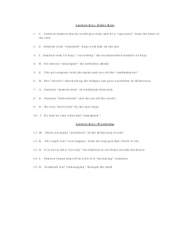 Older Run and Woodsong Vocabulary Quiz Worksheet