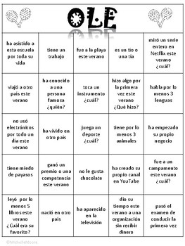 Ole - A Get to Know you Bingo game