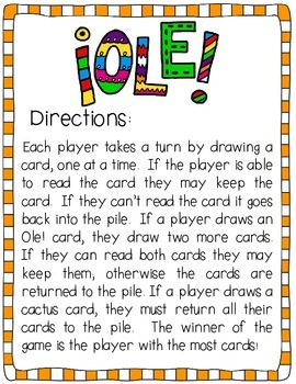 Ole!  A Sight Word Game Common Core Aligned