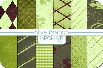 Olive Branch Green & Maroon Patterned Digital Paper Pack