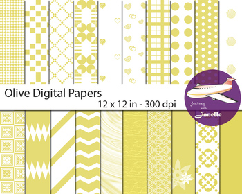 Olive Digital Papers for Backgrounds, Scrapbooking and Classroom Decorations