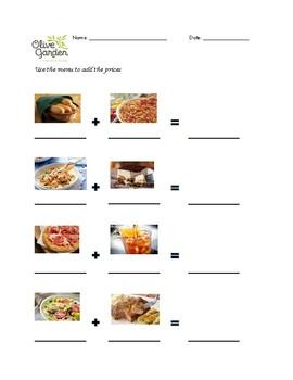 Olive Garden Menu Math