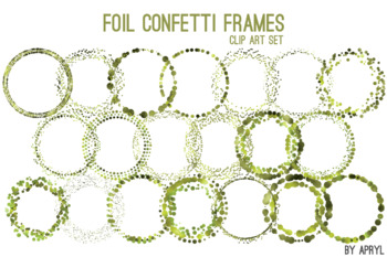 Olive Green Confetti Round Frames 20 PNG Clip Art 8in Foil Metallic S8