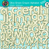 Olive Green Crayon Alphabet Clip Art {Great for Classroom Decor & Resources}