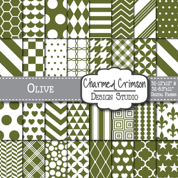 Olive Green Geometric Basic Digital Paper 1141