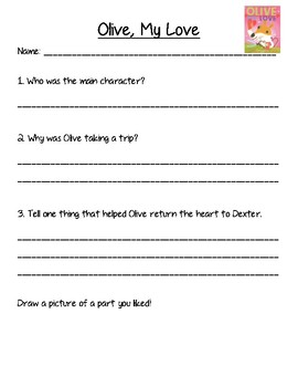 Olive My Love Book Discussion and Comprehension Questions FREEBIE!