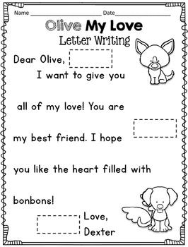 February Reader Response Unit Olive My Love, Valentine's Day