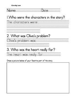 Olive My Love Story Questions Printable