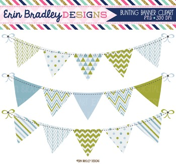 Olive and Blue Bunting Clipart