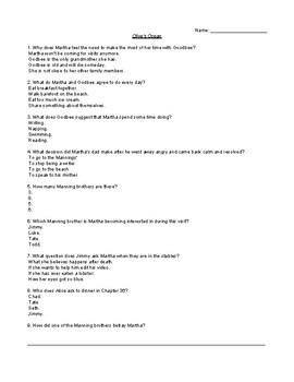 Olive's Ocean Comprehension Quiz