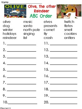 Olive, the Other Reindeer ABC Order worksheet