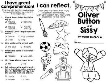 Oliver Button is a Sissy by Tomie DePaola book brochure or book report