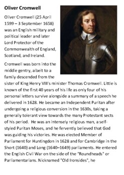Oliver Cromwell Handout