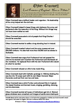 Oliver Cromwell: Hero or Villain Worksheet
