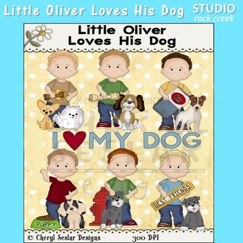 Oliver Loves His Dog Color Clip Art  C. Seslar