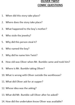 Oliver Twist: 100 short answer questions over entire story