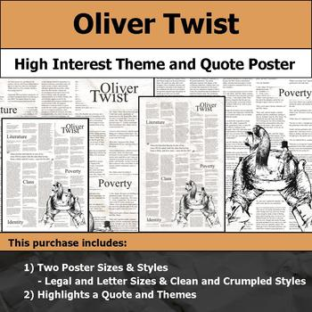 Oliver Twist - Visual Theme and Quote Poster for Bulletin Boards