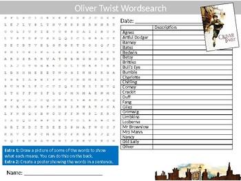 Oliver Twist Wordsearch Puzzle Sheet Keywords English Literature Novel