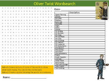 Oliver Twist Wordsearch Sheet Starter Activity Keywords English Literature