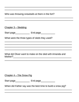 Oliver and Amanda and the Big Snow Question Packet