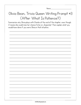 Olivia Bean, Trivia Queen by Donna Gephart:  14 Writing Prompts