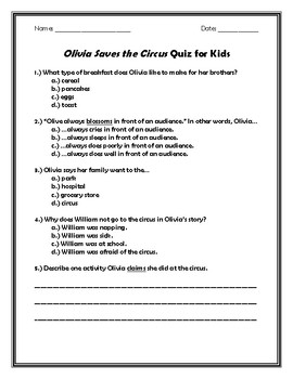 Olivia Saves the Circus Quiz for Kids