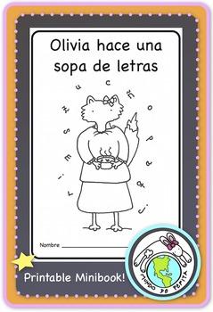 Olivia hace una sopa de letras Spanish Alphabet Printable Minibook