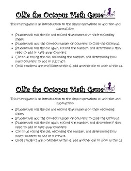 Ollie the Octopus Math Game
