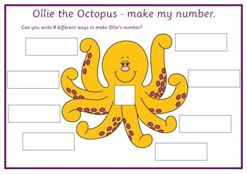 Ollie the Octopus - make my number activity sheet